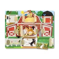 Melissa & Doug mágneses fa bújócska ház - farmos játék 4592