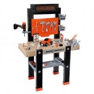 SMOBY munkapad és műhely BLACK&DECKER 92 részes mechanikus fúrógéppel és kisautóval 360701
