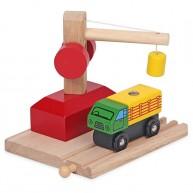 Mentari daru és teherautó rakománnyal fa sínekkel összekapcsolható 3754