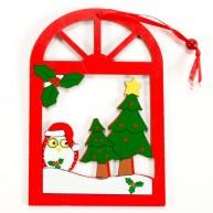Karácsonyi ablakdísz - baglyos 4093-C