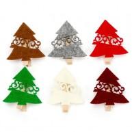 Karácsonyi dekorációs fa csipecsek filc fenyővel 6db 4435-C