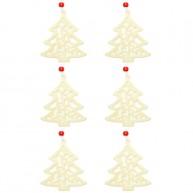 Karácsonyfa dísz filcből karácsonyfa 6db krém-fehér