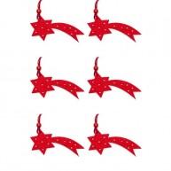 Karácsonyfa dísz filcből hullócsillag 6db piros