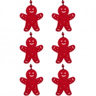 Karácsonyfa dísz filcből mézi 6db piros