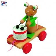 Woody húzható játék - doboló béka 90196