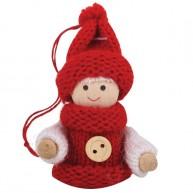 IMP-EX akasztós karácsonyfadísz - fiú kötött ruhában és kötött sapkában 4081-C