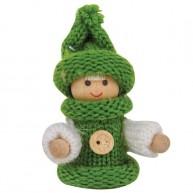 IMP-EX karácsonyfadísz kisfiú zöld egygombos kötött kabátban és sapkában 4081A