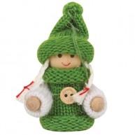 IMP-EX karácsonyfadísz kislány zöld egygombos kötött kabátban és sapkában 4081B