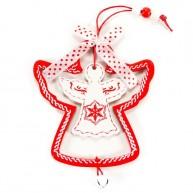 Karácsonyfadísz fehér angyal piros keretben 3848D