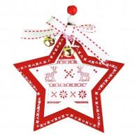 Karácsonyfadísz fehér csillag piros keretben 3848A