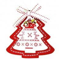 Karácsonyfadísz fehér fenyő piros keretben 3848B