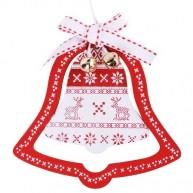 Karácsonyfadísz fehér harang piros keretben 3848C