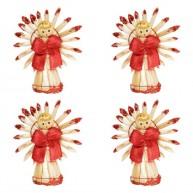 Karácsonyfadísz angyalkák szalmából 4db piros 3580A