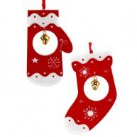Fa karácsonyfadísz kesztyű és zokni csengővel 4425B
