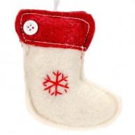 Karácsonyfadísz fehér csizma filcből   4437-I