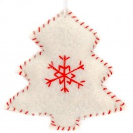 Karácsonyfadísz fehér karácsonyfa filcből  4437-C