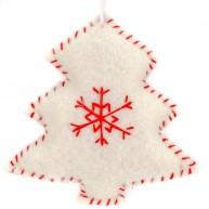 Karácsonyfadísz fehér karácsonyfa filcből