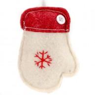 Karácsonyfadísz fehér kesztyű filcből