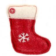 Karácsonyfadísz piros csizma filcből