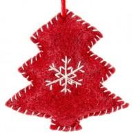 Karácsonyfadísz piros fenyőfa filcből