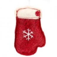 Karácsonyfadísz piros kesztyű filcből