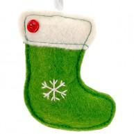 Karácsonyfadísz zöld csizma filcből