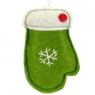 Karácsonyfadísz zöld kesztyű filcből