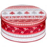 Karácsonyi díszdoboz kerek fém piros-fehér fenyőfás 17 * 17 * 8 cm 4446