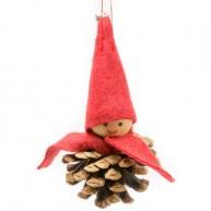 Karácsonyfadísz tobozgyerek bordó sapkában és sállal 484369