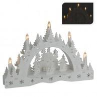 Karácsonyi világító asztal vagy ablakdekoráció fából LED izzókkal fenyőfás hóemberrel  4053C