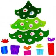 Karácsonyi ablakzselé dísz fenyőfa ajándékokkal 4414B