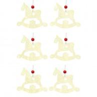 Karácsonyfa dísz filcből hintaló 6db krém-fehér