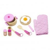 Játék fa edénykészlet rózsaszín kiegészítőkkel 3448
