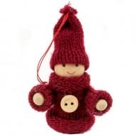 IMP-EX karácsonyfadísz kisfiú bordó egygombos kötött kabátban és sapkában 4441C