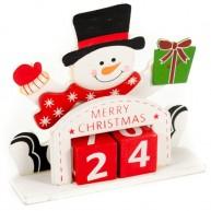 Fa karácsonyi dekoráció adventi hóemberes öröknaptár