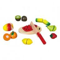 Viga fa szeletelhető játék gyümölcsök vágódeszkával  fadobozban 0485