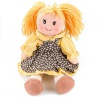 BUMI Textil baba sárga-barna ruhában virágmintákkal 25 cm 4311D