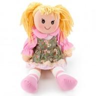 BUMI Textil baba zöld-rózsaszín virágos ruhában 25cm 4311G