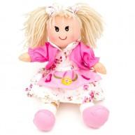 BUMI Textil baba rózsaszín kabátban és virágos ruhában 25cm-es 3332P