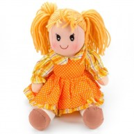 BUMI Textil baba narancssárga ruhában 30 cm 4312F