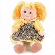 BUMI Textil baba virágmintás sárga-barna ruhában 30 cm 4312D