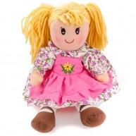 BUMI Textil baba rózsaszín virágmintás ruhában 30 cm 4312C