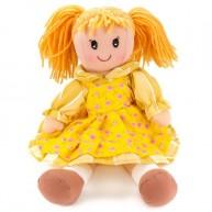 BUMI Textil baba sárga ruhában rózsaszín virágmintákkal 30 cm 4312A