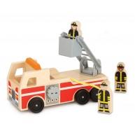 Melissa & Doug játék tűzoltóautó létrával és tűzóltókkal