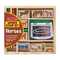 Melissa & Doug 10db-os lovas nyomda készlet 5db színes ceruzával 2410