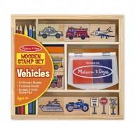 Melissa & Doug Nyomda készlet  10db pecséttel és 5 db színes ceruzával, járműves12409