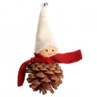 Karácsonyfadísz tobozgyerek krém sapkában és bordó sállal 484370
