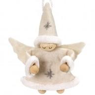Karácsonyfadísz angyalka fiú krém ruhában 484356