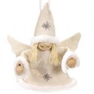 Karácsonyfadísz angyalka kislány krém ruhában 4439B