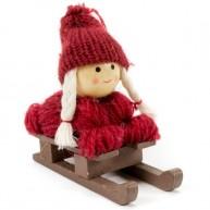 Karácsonyfadísz bordó kötött ruhás kislány szánkón 484347